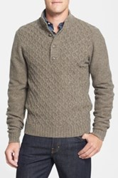 Wallin And Bros. Quarter Button Mock Neck Sweater Brown