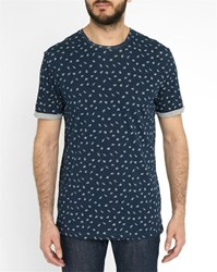 Minimum Blue Oxley All Over Pattern Round Neck T Shirt