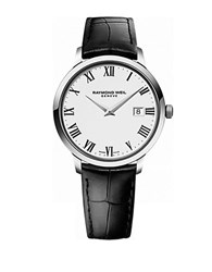 Raymond Weil Mens Toccata Silvertone And Leather Watch Black