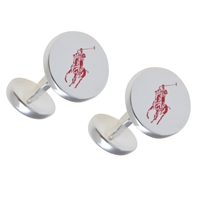 Polo Ralph Lauren Silver Plated Pony Cufflinks Silver Red