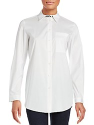 Lafayette 148 New York Babette Trim Blouse White