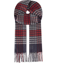 Johnstons Sports Check Cashmere Scarf Navy Blue Red