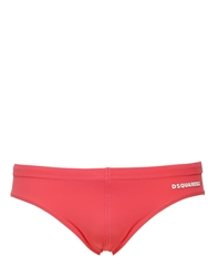 Dsquared2 Underwear 3D Logo Stretch Lycra Swimming Briefs Coral