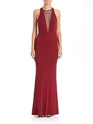 Abs By Allen Schwartz Cutout Jersey Deep V Neck Gown Marsala