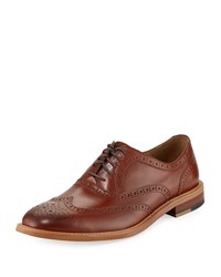 Neiman Marcus Preto Leather Wing Tip Oxford Tan