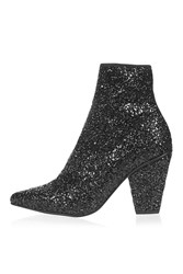 Topshop High Sequin Stretch Ankle Boots Black