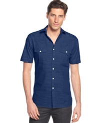 Alfani Big And Tall Short Sleeve Warren Shirt Blue Jeans