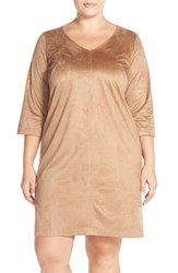 Plus Size Women's Eloquii Faux Suede V Neck Shift Dress