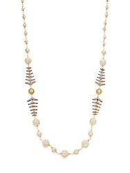 Azaara Florentine Pave Crystal Fishtail Beaded Necklace Gold