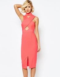 Lavish Alice High Neck Cut Out Detail Centre Split Midi Dress Pink