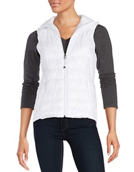 Betsey Johnson Zip Front Puffer Vest White