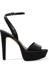 Halston Bobbie Textured Leather Sandals Black