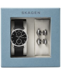 Skagen Men's Holst Black Leather Strap Watch And Cuff Links Boxset 40Mm Skw1066