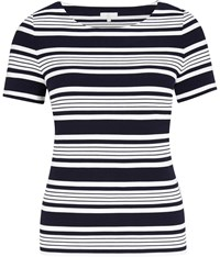 Cc Textured Stripe Jersey Top Navy