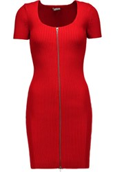 Alexander Wang T By Ribbed Cotton Blend Mini Dress Tomato Red