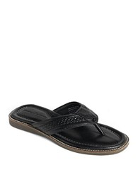 Tommy Bahama Anchors Away Leather Thong Sandals Black