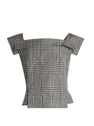 Vivienne Westwood Bettle Checked Taffeta Square Neck Top Black White