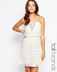 Vero Moda Tall Strappy Lace Cami Dress Antique White