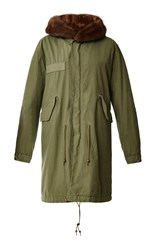 Mr And Mrs Italy Regular Fit Long Army Parka With Natural Mink Green