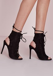Missguided Lace Up Heeled Ankle Boots Black Black