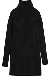 The Elder Statesman Ribbed Cashmere Turtleneck Mini Dress Black