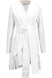Marni Ruffled Cotton And Linen Blend Jacket White