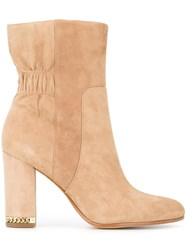 Michael Michael Kors Chain Detail Chunky Heel Boots Nude Neutrals