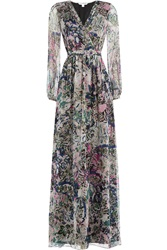 Diane Von Furstenberg Printed Silk Chiffon Maxi Dress Multicolor