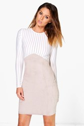 Boohoo Mesh Suedette Bodycon Dress Grey