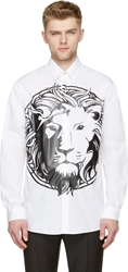 Versus White And Black Lion's Head Shirt