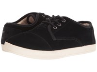Toms Paseo Sneaker Black Suede Shearling Women's Lace Up Casual Shoes