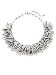 Natasha Bar And Chain Collar Necklace Silver