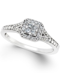 No Vendor Diamond Cushion Cut Halo Promise Ring 1 4 Ct. T.W. In 10K White Gold