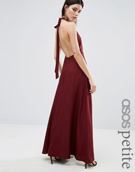 Asos Petite Open Back Maxi Dress Burgundy Red