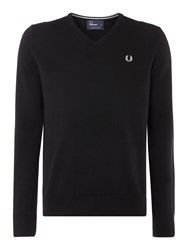Fred Perry Men's Classic V Neck Pull Over Sweater Black