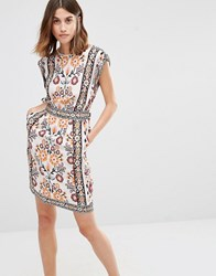 Warehouse Placement Print Sleeveless Dress Cream Base