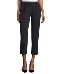 Milly Nicole Pleated Front Cropped Pants Black