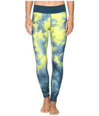 Adidas Wow Drop 3 Long Tights Vapour Steel Solar Yellow Print Women's Workout Multi