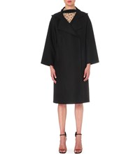 Valentino Boxy Wool Blend Trench Coat Blk