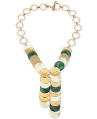 Robert Lee Morris Soho Two Tone Horn Layered Disc Lariat Necklace Gold