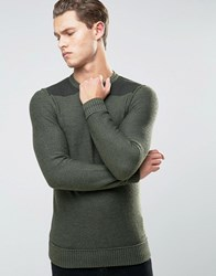 Boss Orange Kroy Military Jumper Merino And Boiled Wool Green