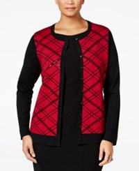 Charter Club Plus Size Embellished Plaid Cardigan Only At Macy's New Red Amore Combo