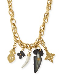 Ashley Pittman Tego Bronze Necklace With Horn Charms