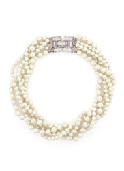 Kenneth Jay Lane Crystal Clasp Multi Strand Glass Pearl Necklace White Metallic
