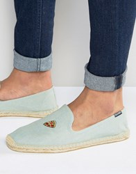 Soludos Embroidered Pizza Chambray Espadrilles Blue
