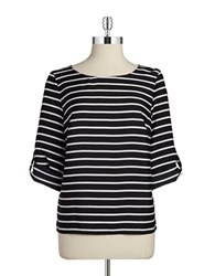Calvin Klein Striped Blouse Black White