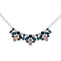 Monet Navette Glass Crystal Collar Necklace Silver Blue