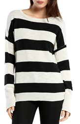 Michael Stars Side Zip Stripe Boatneck Top Parchment Black