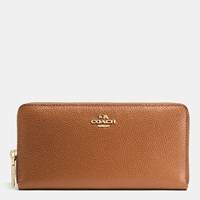 Coach Accordion Zip Wallet In Pebble Leather Light Gold Saddle