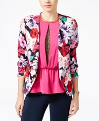 Xoxo Juniors' Floral Print Ruched Sleeve Blazer Multi